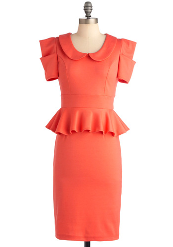 Work with Me Dress in Coral - Work, Vintage Inspired, Solid, Peter Pan Collar, Ruffles, Short Sleeves, Peplum, Coral, Collared, 40s, 80s, Long