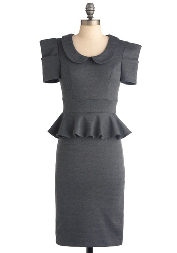 Work With Me Dress in Charcoal - Long, Work, Vintage Inspired, Grey, Solid, Peter Pan Collar, Ruffles, 60s, Sheath / Shift, Short Sleeves