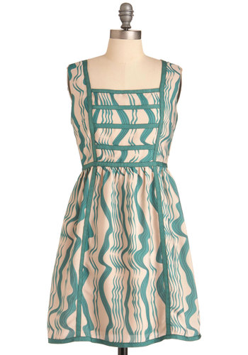 Waterfall in Love Dress - Mid-length, Tan / Cream, Print, Sleeveless, Green, Casual, Sheath / Shift