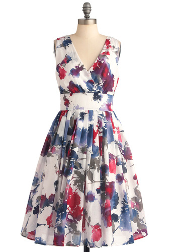 Glamour Power to You Dress in Watercolor - Long, Floral, Pleats, A-line, Sleeveless, Red, Blue, Purple, White, Casual, Vintage Inspired, 50s, Fit & Flare
