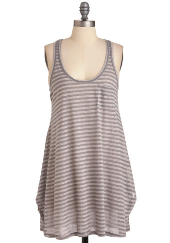 A Lake-Shore Thing Tunic - Grey, White, Stripes, Casual, Pockets, Tank top (2 thick straps), Long