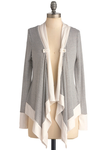 Everything's All Stripe Cardigan - Mid-length, Grey, White, Buttons, Casual, Nautical, Stripes, Ruffles, Long Sleeve
