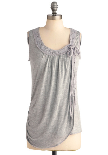 Party Setup Team Top - Casual, Grey, Solid, Bows, Crochet, Trim, Sleeveless, Mid-length