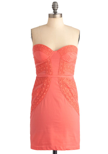 Have We Met? Dress in Melon - Short, Orange, Solid, Eyelet, Party, Mini, Sheath / Shift, Strapless, Summer