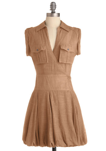 Under Cerulean Skies Dress in Wheat - Short, Casual, Safari, Brown, Solid, Pockets, Mini, Wrap, Short Sleeves