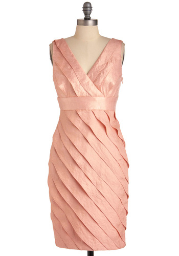 Peach Chiffon Dress - Formal, Wedding, Orange, Tiered, Party, Sheath / Shift, Sleeveless, Mid-length, Pastel, Cocktail, Chiffon, Satin, V Neck