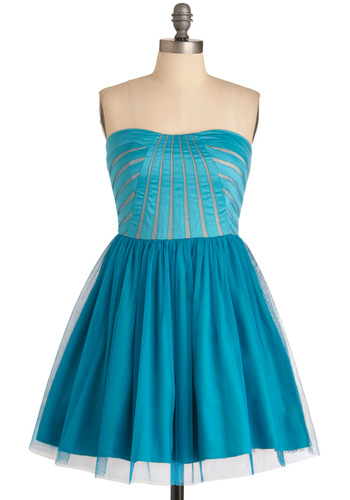 C'mon Feel the Turquoise Dress - Party, 80s, Blue, Solid, A-line, Strapless, Prom, Vintage Inspired, Mini, Mid-length