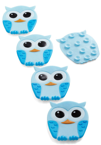 Best Hoot Forward Bathtub Treads by Kikkerland - Casual, Owls, Kawaii, Blue, Pastel, Best Seller, Best Seller, Quirky, Top Rated