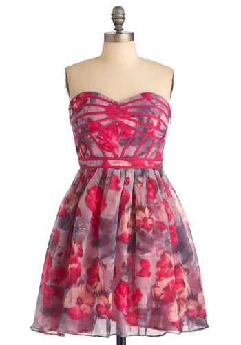 Watercolor Romantic Dress - Floral, A-line, Strapless, Party, Purple, Pink, Mini, Spring, Mid-length, Fit & Flare, Sweetheart, Daytime Party