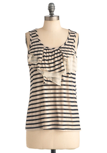 Wind in the Sails Top - Black, Ruffles, Sleeveless, Casual, Nautical, Tan / Cream, Stripes, Mid-length, Summer