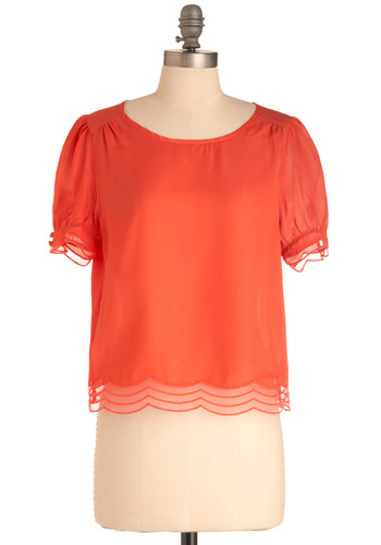Petal Pusher Top - Short, Solid, Vintage Inspired, Short Sleeves, Work, Orange, Scallops