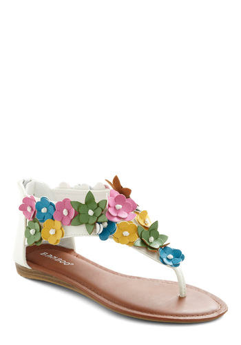 Coming Up Posies Sandal - Casual, Multi, Yellow, Green, Blue, Pink, White, Floral, Flower, Summer