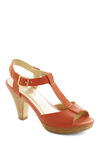 Hey There Heel in Coral by Seychelles - Orange, Solid, Buckles, Casual