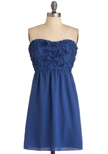 Cobalt is in Your Court Dress - Blue, Flower, Wedding, Party, Sheath / Shift, Strapless, Mid-length