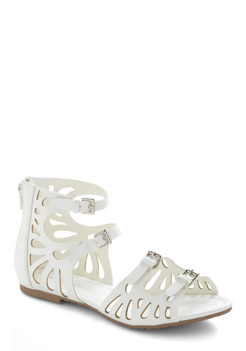 White Waters Sandal - White, Buckles, Cutout, Casual, Summer