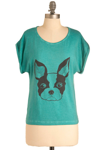 Puppy Eyes Top - Mid-length, Casual, Blue, Novelty Print, Short Sleeves, Black, International Designer