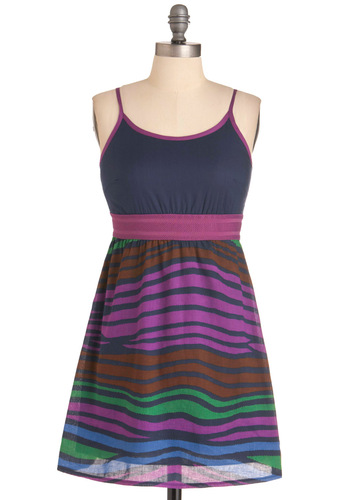 Evening in the Desert Dress - Short, Spaghetti Straps, Multi, Green, Blue, Purple, Brown, Print