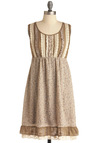 Quilting Bee Dress - Mid-length, Floral, Ruffles, Tiered, Sheath / Shift, Sleeveless, Casual, Multi, Brown, Tan / Cream, Buttons, Lace, Cotton