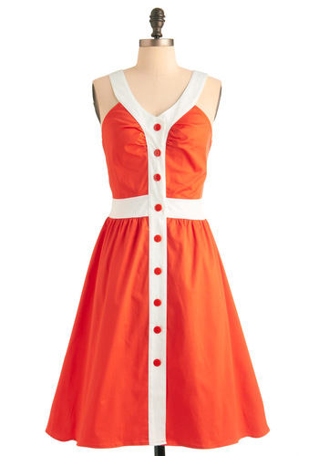 Orange You Glad Dress - Long, Vintage Inspired, 50s, 60s, 70s, Orange, White, Buttons, A-line, Tank top (2 thick straps), Scholastic/Collegiate, V Neck