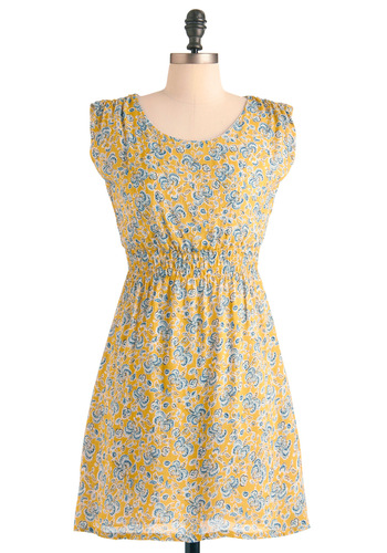 Goldenrod Grandeur Dress - Mid-length, Sheath / Shift, Casual, Multi, Yellow, Blue, Floral, Cap Sleeves