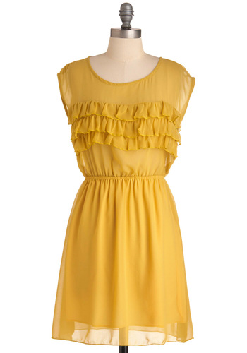 Dandelion Darling Dress - Short, Casual, Yellow, Solid, Ruffles, Cap Sleeves