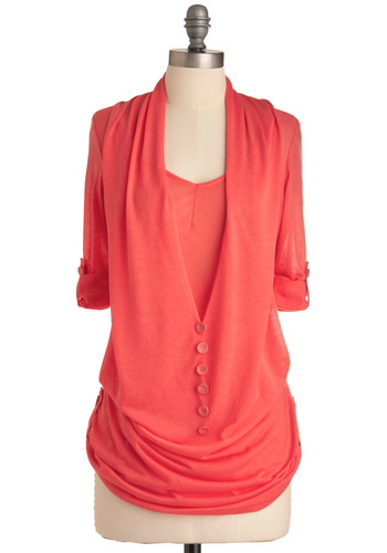 What's in Storm Top in Coral - Casual, Pink, Solid, Buttons, Long Sleeve, 3/4 Sleeve, Long