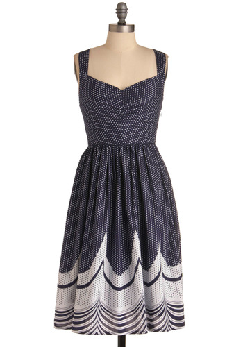 Wonders Never Seas Dress - Long, Nautical, Vintage Inspired, 50s, Blue, White, Polka Dots, Tank top (2 thick straps), Cotton, Fit & Flare, Sweetheart
