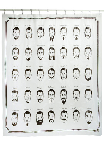 Just Face It Shower Curtain by Kikkerland - Black, White, Print, Dorm Decor, Quirky