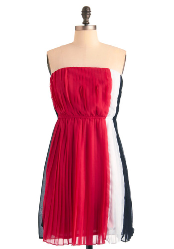 All the Stripe Moves Dress - Party, Red, Black, White, Pleats, Mini, Sheath / Shift, Strapless, Mid-length, Tis the Season Sale