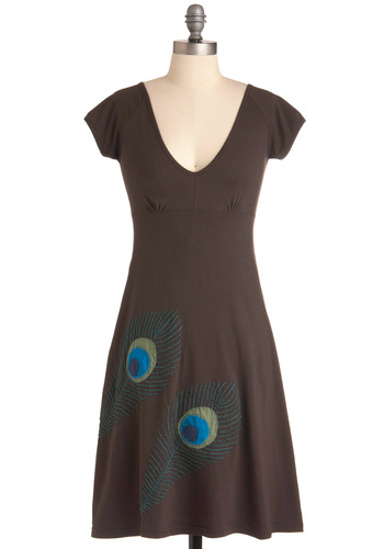 Lead the Flock Dress - Mid-length, Casual, Brown, Blue, Embroidery, A-line, Short Sleeves, Eco-Friendly, Cotton, Holiday Sale, V Neck