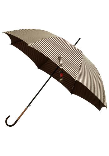 Just Stripe for Rain Umbrella - Stripes, Brown, White, Travel