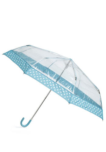 Clear Skies Always Umbrella - Blue, White, Polka Dots, Spring