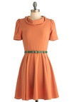 Cowl Me Dress - Mid-length, Work, Vintage Inspired, Orange, Green, Solid, A-line, Short Sleeves, Belted, Cowl, Fit & Flare, Coral, Variation