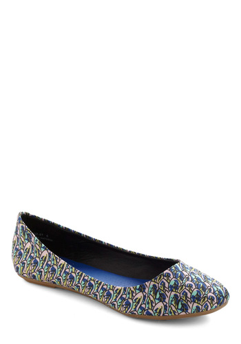 Feathers Where Your Feet Go Flat - Green, Blue, Pink, Print, Casual