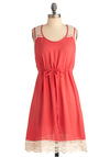 Summer Fair Dress - Mid-length, Casual, Orange, White, Solid, Crochet, Scallops, Sheath / Shift, Sleeveless, Summer, Coral