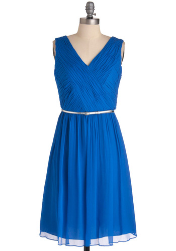Some Enchanted Afternoon Dress - Long, Prom, Wedding, Blue, Silver, Solid, Sheath / Shift, Sleeveless, Belted, Cocktail, Ruching, V Neck, Bridesmaid