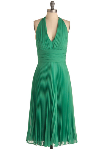 University of Marilyn Dress in Lime - Long, Special Occasion, Prom, Wedding, Pinup, Vintage Inspired, 60s, Green, Solid, Pleats, Sheath / Shift, Halter
