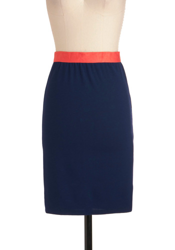 Essential Pencil Skirt - Mid-length, Work, Blue, Pink, Solid