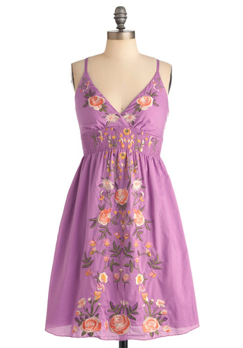 New Zeal Dress in Violet - Mid-length, Casual, Purple, Multi, Orange, Green, White, Floral, Embroidery, Empire, Spaghetti Straps, Summer