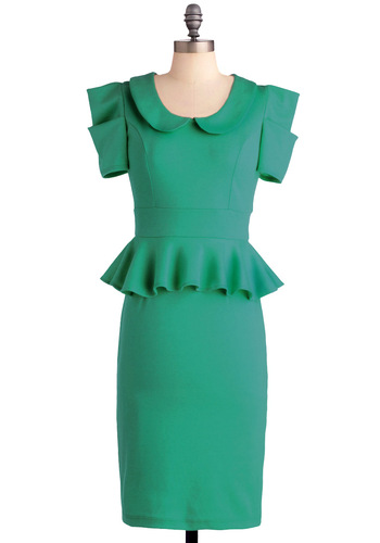 Work With Me Dress in Green - Work, Vintage Inspired, Green, Solid, Peter Pan Collar, Ruffles, Pinup, 60s, Shift, Short Sleeves, Long