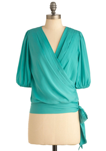 No Surplice Like Home Top - Mid-length, Luxe, Green, 3/4 Sleeve