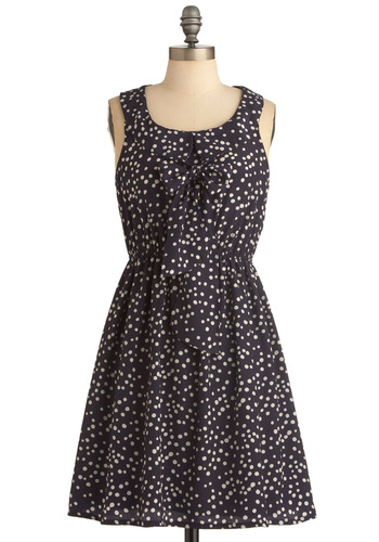 Midnight Fizz Dress - Mid-length, Blue, Peter Pan Collar, Pleats, A-line, White, Print, Tank top (2 thick straps), Tie Neck