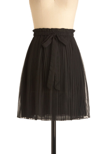 All the Raven Skirt - Mid-length, Work, Casual, Black, Pleats