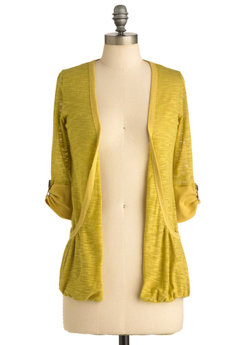Ready, Sunset, Go Cardigan - Casual, Yellow, Solid, Pockets, 3/4 Sleeve, Mid-length
