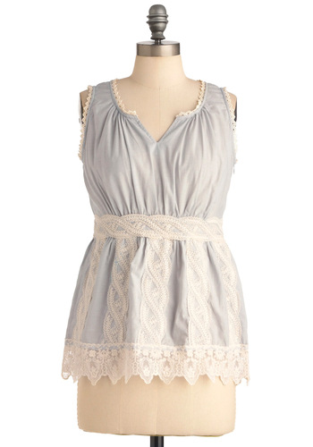 The Bluebird's Ballad Top - White, Lace, Casual, Sleeveless, Blue, Mid-length