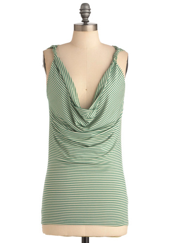 Head Clover Heels Top - Green, White, Stripes, Casual, Sleeveless, Mid-length