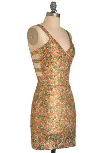 Truly Awesome Blossoms Dress - Short, Floral, Exposed zipper, Sheath / Shift, Tank top (2 thick straps), Statement, Orange, Yellow, Green, Backless, Cutout, Party, Mini, Summer