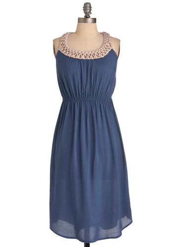 Nested In Dress - Long, Blue, Tan / Cream, Solid, Sheath / Shift, Racerback, Casual, Boho, Woven, Summer, Jersey