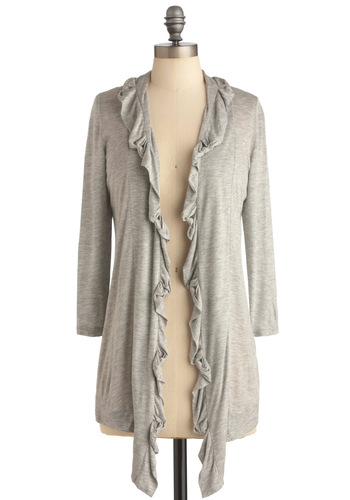 Walking Through the Heather Cardigan - Long, Casual, Grey, Solid, Ruffles, Long Sleeve
