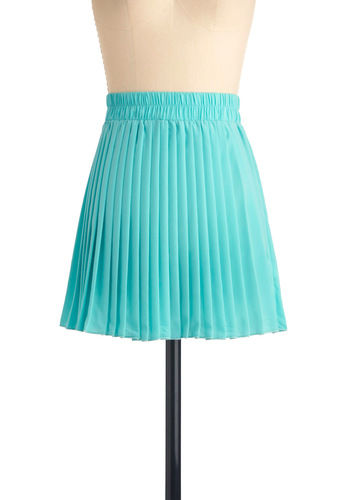 Mint, Pleats Skirt - Short, Solid, Pleats, Green